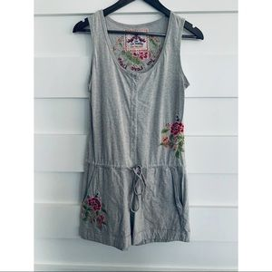Johnny Was- Grey Embroidered Romper